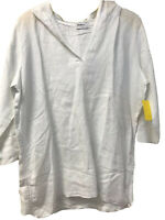 NWT Allen Allen Size L White Linen Top Pull Over Hooded 3/4 Sleeve Adjust Sides