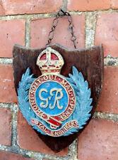 More details for vintage decorative old wooden & cast gvr royal engineers rare shield plaque sign
