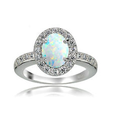 Sterlingsilber Opal und Weiß Topas Oval Halo Ring
