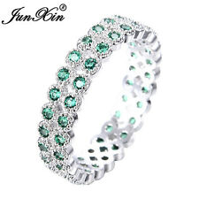 Eternity Double Row Green Emerald White Gold Wedding Ring For Women Size 6-10