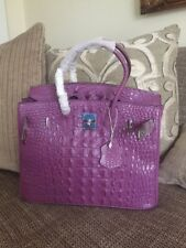 RARE BIRKIN INSPIRED PURPLE LEATHER ALLIGATOR PRINT 30CM BAG TOTE PURSE