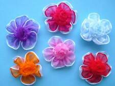 30 pcs Organza Flowers 2 Layers with Rose Applique Mix 6 Colors Bridal SF15
