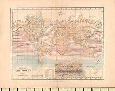 Mapa de c1880 ~ el mundo mostrando las corrientes & isotérmico líneas ~ lluvias