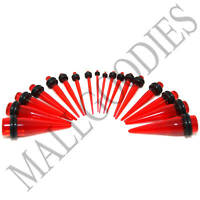 """V027 Acrylic Clear Red Stretchers Tapers Expander Ear Plugs 14G to 1"""" Taper Kit"""