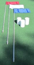 3 HOLE GOLF PKG - 3 FLAGS RED WHITE & BLUE  - 3 FLAG STICKS - 3 ALUMINUM CUPS