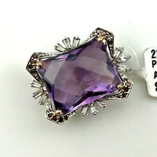 Amethyst and Diamond Pendant in 14K White Gold, New