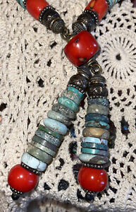 "WoW - MASHA ARCHER Red Coral, Lapis, Turquoise Dangle Necklace 19"" tagged"