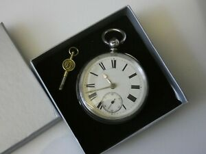 Beautiful Antique Victorian London Hallmark Silver Fusee Pocket Watch Dated 1879