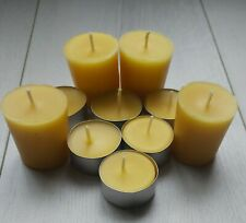 100% Pure Beeswax Tealight Candles, Hand poured, 5 hour burn, very bright light