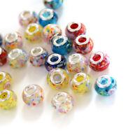 100pcs Handmade Lampwork Glass European Beads Rondelle Large Hole Charms 13~14mm