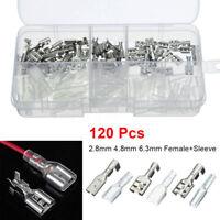 120Pcs 2.8mm 4.8mm 6.3mm Crimp Terminals Female Spade Connectors Electrical Wire