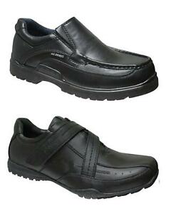 US BRASS MENS BLACK FORMAL SCHOOL SHOES FAUX LEATHER SLIP STRAP ON SIZE 7-12