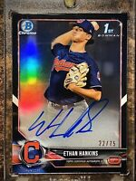 🔥2018 Bowman Chrome ETHAN HANKINS /75 Black Refractor AUTO Indians 1st Rd Pick!