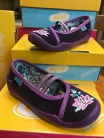 Befado Girls Purple Velvet Mary-Jane  GlitterFairy Motif Shoe Non-Slip sz 26/8.5