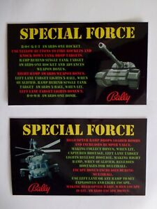 * * 'SPECIAL FORCE' Bally 1986 Custom  Instruction/Apron Cards * * (New)