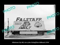 OLD POSTCARD SIZE PHOTO OKLAHOMA CITY OK USA THE FALLSTAFF BEER BILLBOARD 1950