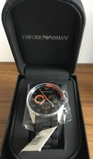 ARMANI MENS CHRONOGRAPH WATCH AR5878 BLACK DIAL RUBBER STRAP