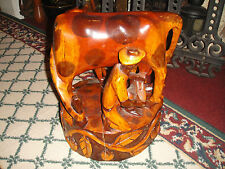 Stunning African Wood Carving Cow Feeding Calf-Farmer Milking Cow-Large-Detail