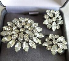 Vintage Austrian Clear Crystal Aurora Borealis Starburst Brooch & Earrings