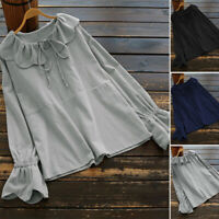 UK Womens Crew Neck Long Sleeve Lace-up Ruffled Casual Loose Tops Shirt Blouse