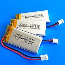 3 pcs 560mAh 3.7V Li Po Battery 602248 for MP3 GPS Speaker JST 2.0mm Connector