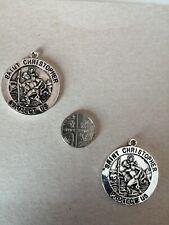 St christopher pendant /charm x2.