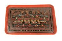 Antique Burmese Lacquerware Old Lacquer Plate Tray Hand Painted Asian Art