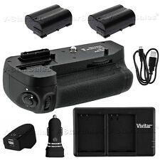 Battery Grip For Nikon D7200 + 2x EN-EL15 Batteries + AC/DC USB Dual Charger