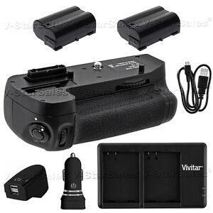 Battery Grip For Nikon D7200 + 2x EN-EL15 Batteries + AC/DC USB Dual Charger