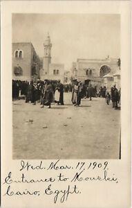 PC EGYPT, CAIRO, ENTRANCE TO KOUSKI, 1909, Vintage REAL PHOTO Postcard (b30832)