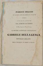 GABRIELE DELLA GENGA PUBBLICO OMAGGIO AL COMUNE DI URBINO PESARO 1843 DISCORSO