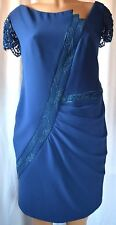 TONY WARD PRET-A-PORTER Blue Lace Sequined Silk/Satin Dress Size 12