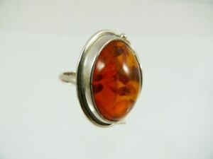 Bernstein Ring Größe 56 Sterlingsilber 925 Farbe Cognac  Damen Amber BR222