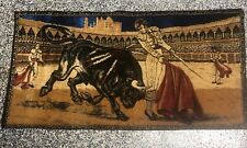Vintage Wall Hanging Velvet Rug Tapestry Bull Fighter Large 20x38