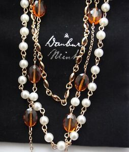 NEW DANBURY MINT 18CT GOLD PLATED  CRYSTAL AMBER & FAUX PEARL 3 STRAND NECKLACE