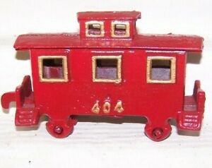 """O Scale Solid Metal #404 Red Caboose, Hook Coupler Rolling wheels 5"""" long 3 3/4"""""""