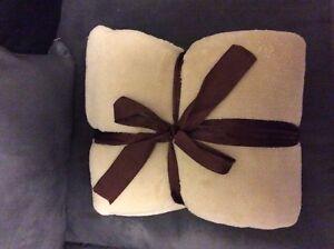 Fleece Throw Blanket-Color Beige-NEW