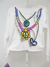NEW Penelope Wildberry Girls White Multi Necklace BFF Long Sleeve T Shirt  L $49