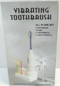 Vibrating Toothbrush  All In One Set For 2 Adults & 2 Kids Great for Traveling