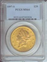 1897-S $20 GOLD LIBERTY Double Eagle PCGS MS64 MS-64 NEAR GEM SCARCE !!!!
