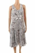 Rouge Dress Grey Blue & White Pattern Sleeveless Bow Size 42 / UK 16 LJ 986
