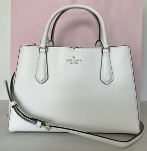 New Kate Spade Tippy Medium Triple compartment satchel Leather Optic White