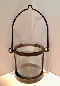 Pottery Barn *Style* Hanging Lantern Hurricane Candle Holder Rubbed Bronze
