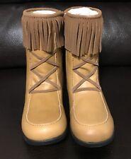 NEW Momo Grow Little Girls Lauren Leather Light Brown Boots, Size 13