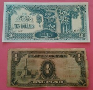 2 Billets/Banknotes OCCUPATION JAPONAISE MALAISIE/PHILIPPINES 1 PESO/10 DOLLARS