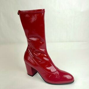 Gucci Women's Red Soft Patent Leather Zip-up Boots EU 37.5 / US 7.5 548859 6433