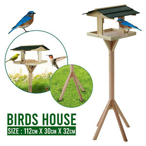 Traditional Wooden Table Garden Birds House Free Standing Bird Feeding Feeder
