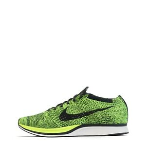 Nike Men's Flyknit Racer Trainers Shoes in Volt Black