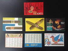 Lot de 7 Anciens minis calendriers de poche tabacs Cigares Cigarettes