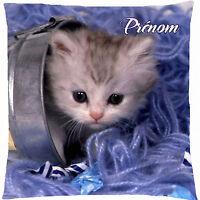 coussin satin chat chaton personnalisé prénom - texte au choix réf 167